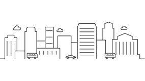 Stadslandskapmall Tunn linje stadslandskap Cityscape bilar isolerade översiktsillustrationen Vektorillustration för stads- liv royaltyfri illustrationer