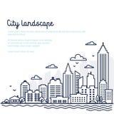 Stadslandskapmall Tunn linje stadslandskap I stadens centrum landskap med höga skyskrapor Panoramaarkitektur royaltyfri illustrationer