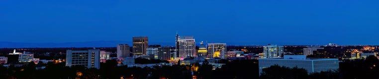 Stadslicht van Boise Idaho Panorama Stock Fotografie