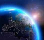 Stadslichten in Europa van ruimte worden gezien die Royalty-vrije Stock Foto's