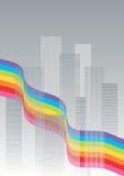 stadsligganderegnbåge Arkivfoton