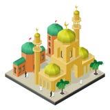 Stadsliv i isometrisk sikt Moské med minaret, stads- byggnader, män och kvinnor i muslim kläder royaltyfri illustrationer