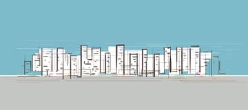 Stadsliv som dras av handen stock illustrationer