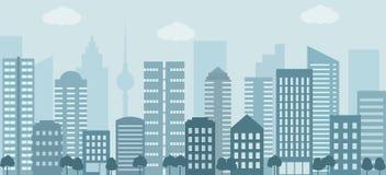 Stadslivillustration med husfasader och andra stads- detaljer vektor illustrationer