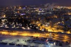 Stadsljus av Tammerfors i natten Royaltyfria Foton