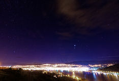 Stadsljus, Dunedin, Nya Zeeland Arkivfoto