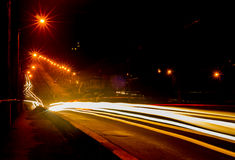 Stadsljus på natten. Arkivfoton