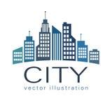 Stadslogo, symbol för vektorbyggnadsrengöringsduk Arkivfoto