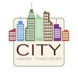 Stadslogo, symbol för vektorbyggnadsrengöringsduk, etikett, stads- landskap, konturer, cityscape, stadhorisont, skyskrapor Färgri Royaltyfri Bild