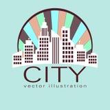Stadslogo, symbol för vektorbyggnadsrengöringsduk Arkivbilder