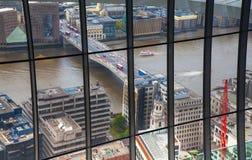 stadslondon sikt Panoramautsikt från golvet 32 av London skyskrapa Royaltyfria Bilder
