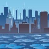 stadslondon vinter Stad vid floden Flod med is anomal froster vektor illustrationer