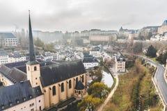 stadsluxembourg panorama- sikt royaltyfria foton