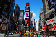 stadsmanhattan nya fyrkantiga tider york Royaltyfri Fotografi