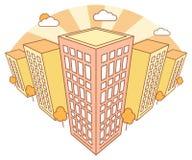 Stadsmening in de herfst met hoge gebouwen, wolken, oranje bomen, dalingslandschap met straatblokken, moderne woon en stock illustratie