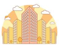 Stadsmening in de herfst met hoge gebouwen, wolken, oranje bomen, dalingslandschap met straatblokken, moderne woon en vector illustratie