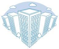 Stadsmening met hoge gebouwen, wolken, bomen, landschap met straatblokken, moderne woon en huurkazernes stock illustratie