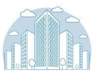 Stadsmening met hoge gebouwen, wolken, bomen, landschap met straatblokken, moderne woon en huurkazernes, lineair overzicht stock illustratie