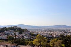 Stadsmening ofAthens, Attica, Griekenland royalty-vrije stock foto