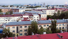 Stadsmening, oud dak royalty-vrije stock foto's