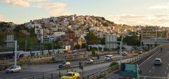 Stadsmening van Aghia-Jachthavenmetro post in Athene, Griekenland op 19 Juni, 2017 Royalty-vrije Stock Afbeeldingen