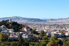 Stadsmening van Athene, Griekenland royalty-vrije stock fotografie