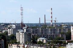 Stadsmening van hierboven, het dak Stock Afbeeldingen