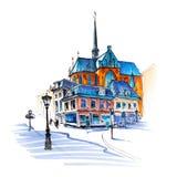 Stadsmening van huis, kerk en lantaarn, Utrecht, Nederland vector illustratie