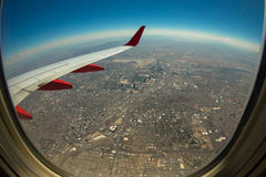 Stadsmening van Vliegtuig Stock Foto's