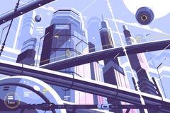 Stadsmetropolis av framtid stock illustrationer