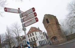 Stadsmitt av Zwolle i vinter Fotografering för Bildbyråer