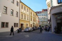 Stadsmitten Brno på April 30, 2016 Brno är den andra - största staden i Tjeckien Fotografering för Bildbyråer