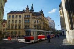 Stadsmitten Brno på April 30, 2016 Brno är den andra - största staden i Tjeckien Arkivfoto