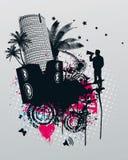 stadsmusik gömma i handflatan deltagaren royaltyfri illustrationer
