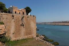 Stadsmuur dichtbij de rivier Bou Regreg. Rabat. royalty-vrije stock foto's