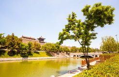 stadsmuur in Xian stock afbeelding