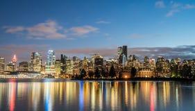 Stadsnacht Vancouver de stad in Royalty-vrije Stock Fotografie