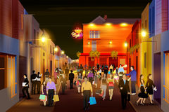 Stadsnachtleven van bezige straat stock illustratie