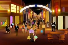 Stadsnachtleven van CARNABY-STRAAT, LONDEN stock illustratie