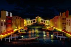 Stadsnachtleven van Venetië royalty-vrije illustratie