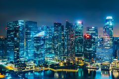 stadsnatt singapore Royaltyfri Fotografi