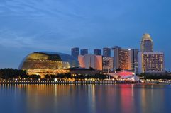 stadsnattflod singapore Arkivfoto