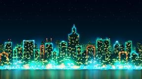 Stadsnatthorisont med ljusa ljus och fönster på bakgrunden av den stjärnklara himlen Fotografering för Bildbyråer