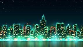 Stadsnatthorisont med ljusa ljus och livliga fönster på bakgrunden av den stjärnklara himlen, sömlös ögla lager videofilmer