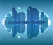 stadsnattsikt Arkivfoto