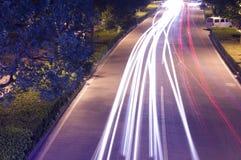 Stadsnatttrafik Royaltyfri Fotografi