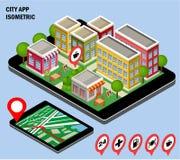 Stadsnavigering app Fotografering för Bildbyråer