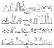 Stadsoriëntatiepunten Peking, Tokyo, New Delhi, Cuba royalty-vrije illustratie