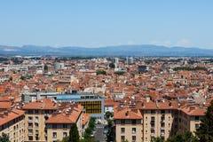 Stadspanorama av Perpignan byggnader Fotografering för Bildbyråer