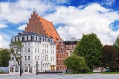 Stadspanorama av Wroclaw och kyrkan av St Stanislaus, Dorothy och Vaclav royaltyfria foton